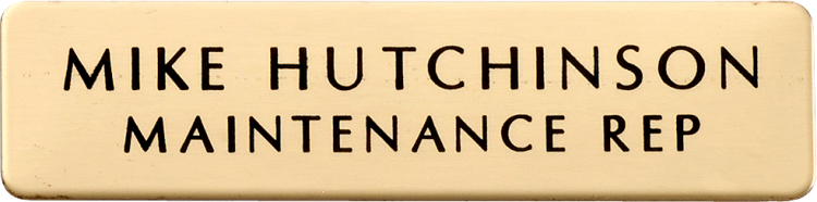 Brass Name Badge - Click Image to Close