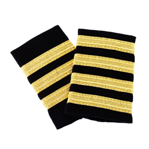 Black Epaulettes with Gold Stripes