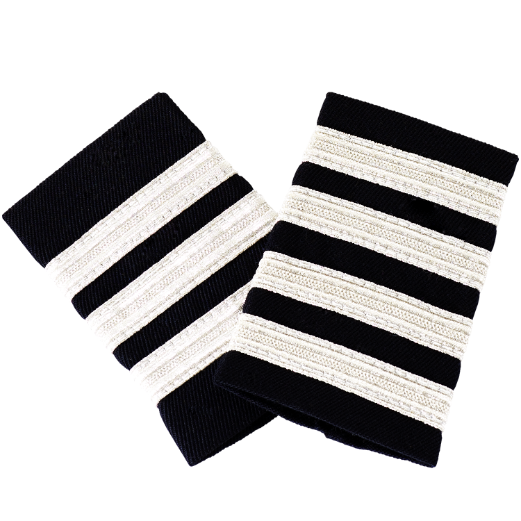Black Epaulettes with Silver Stripes