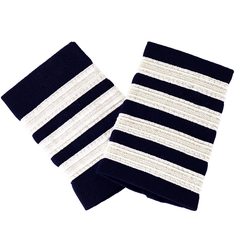 Navy Blue Epaulettes with Silver Stripes
